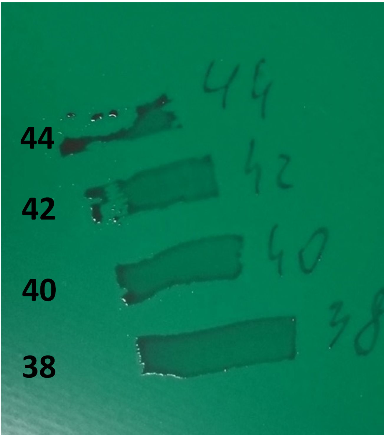 Figure 2. Surface energy measured by felt tip Dyne Pens
