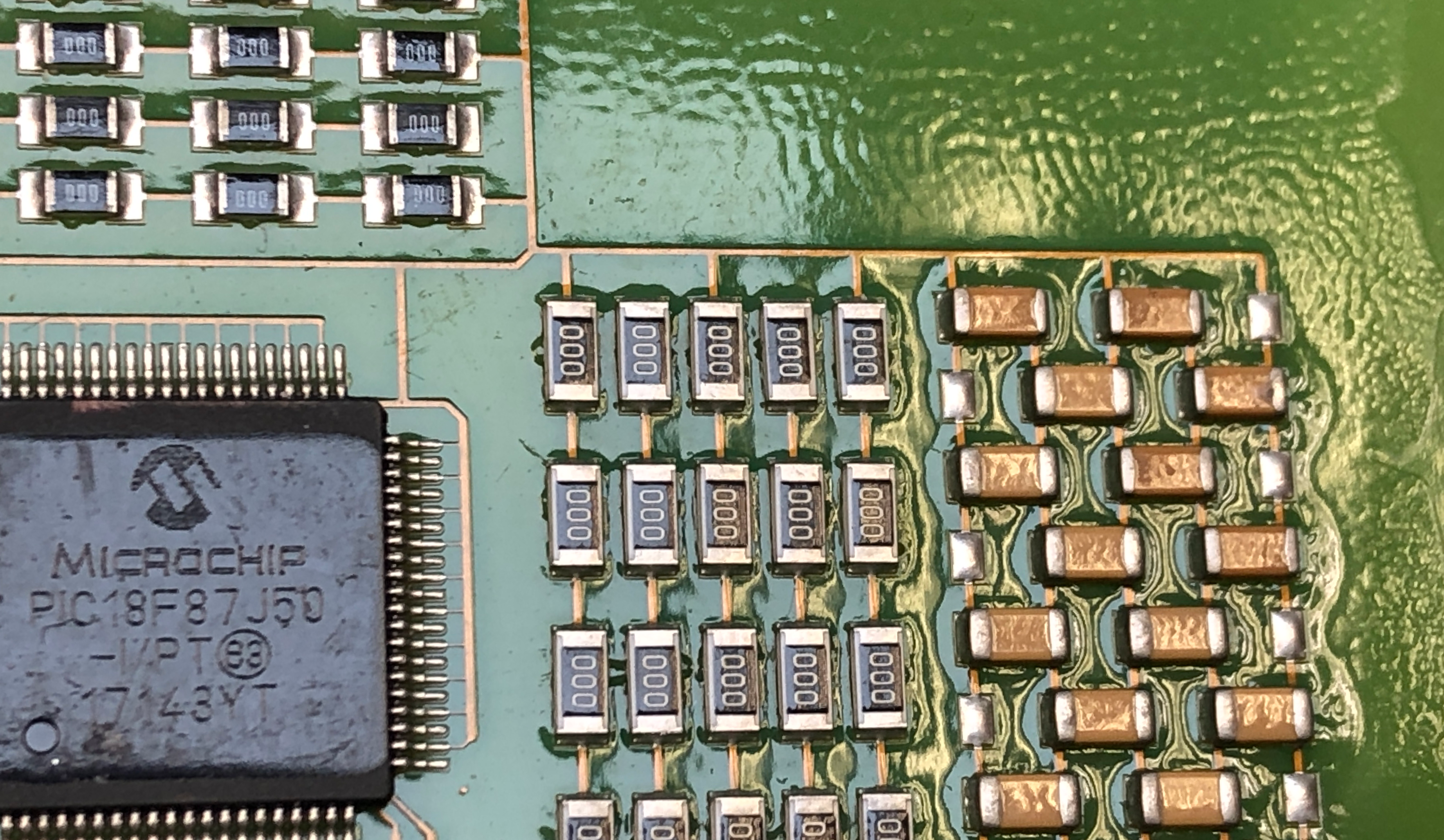 Orange peel on a PCB after being coated with conformal coatings